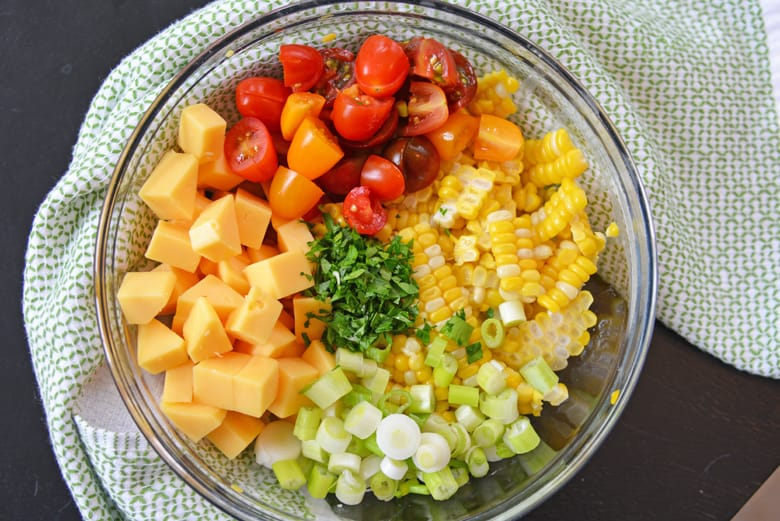 ingredients for gouda and corn pasta salad