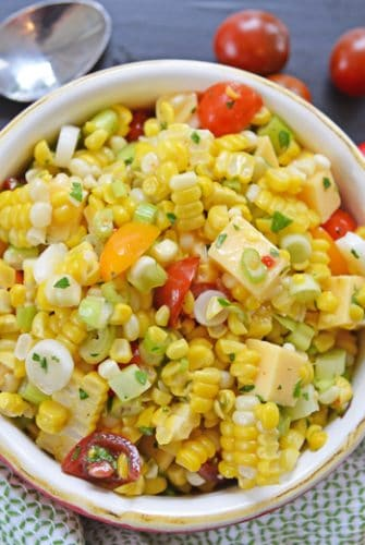 bowl of smoked gouda and corn salad