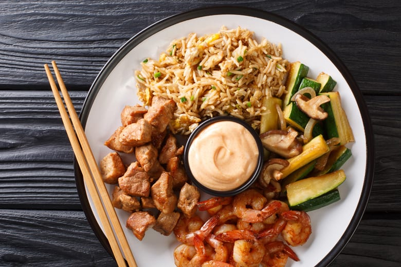 A plate of hibachi food