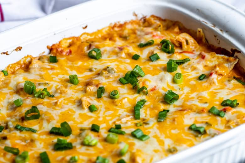 angle of melted cheese on a king ranch chicken casserole