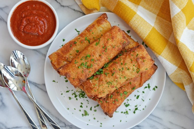 overhead image of fried pizza logs