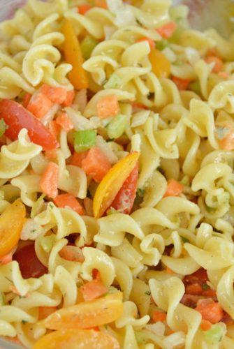 ranch pasta salad in a serving bowl
