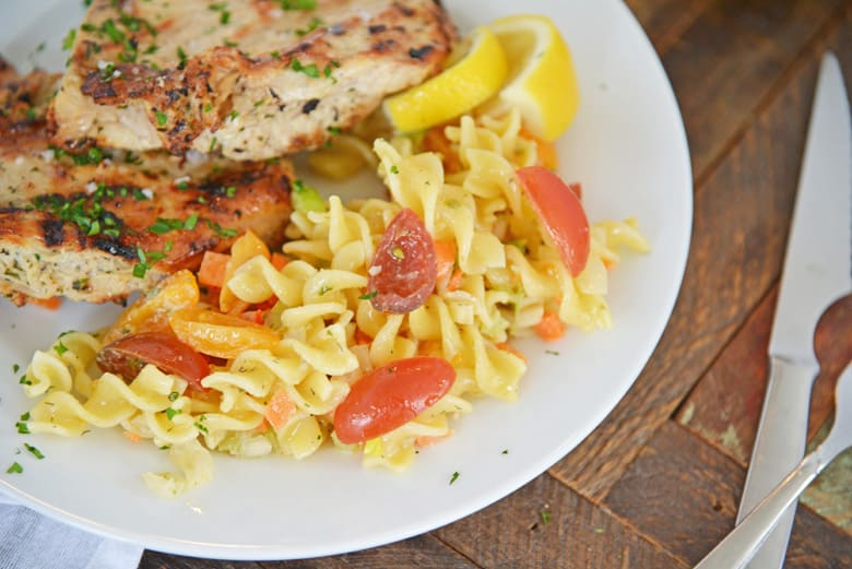 ranch pasta salad being served with grilled chicken