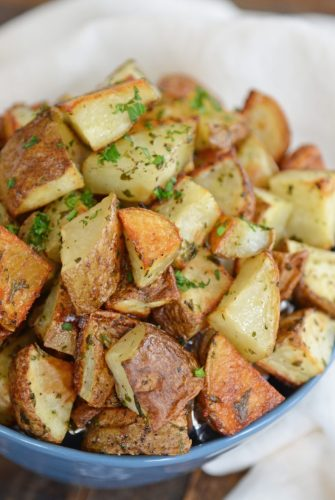 bowl of crispy ranch roast potatoes