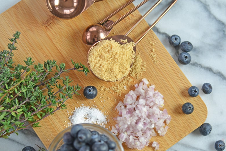 ingredients for making savory blueberry sauce