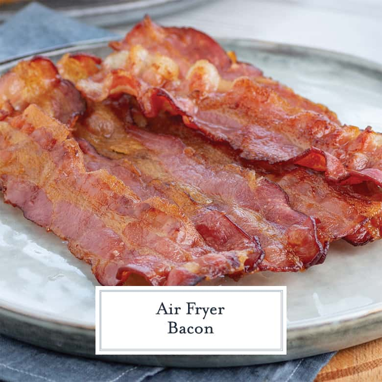 Crispy air fryer bacon on a plate