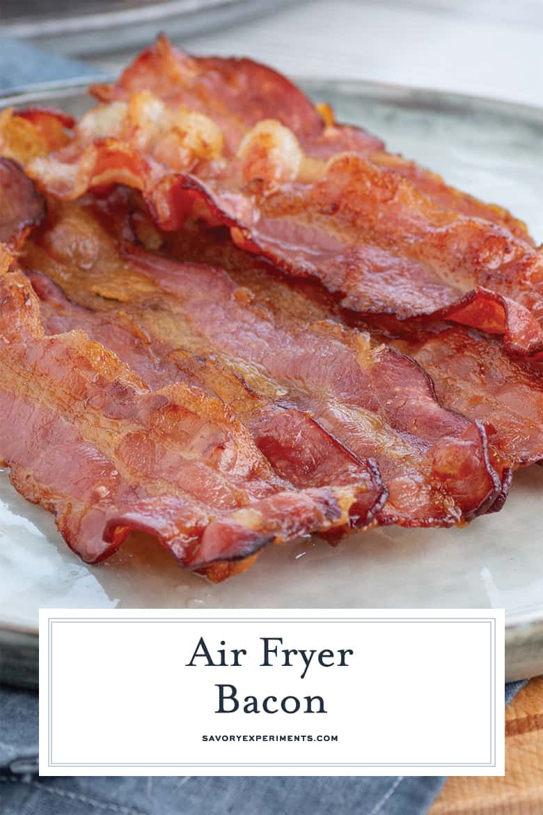 close up of bacon in the air fryer
