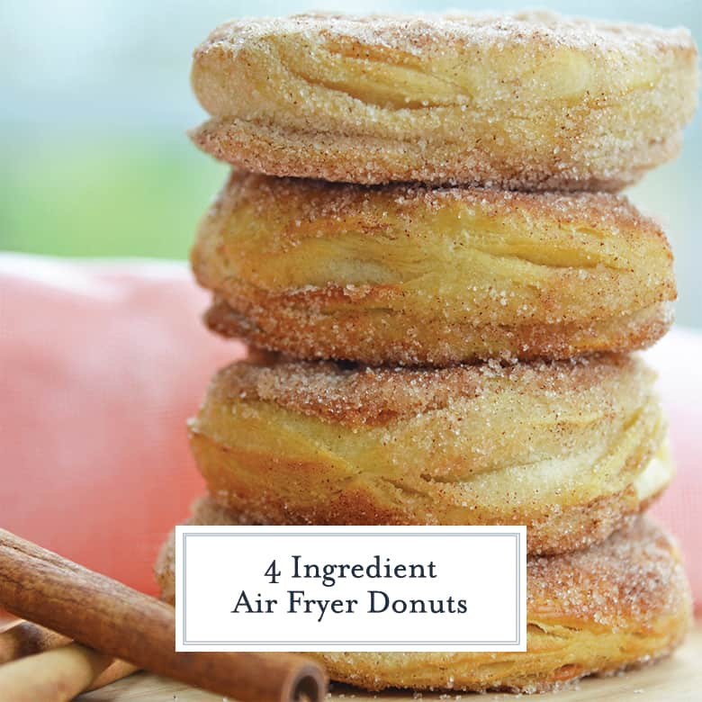 Stack of cinnamon sugar air fryer donuts