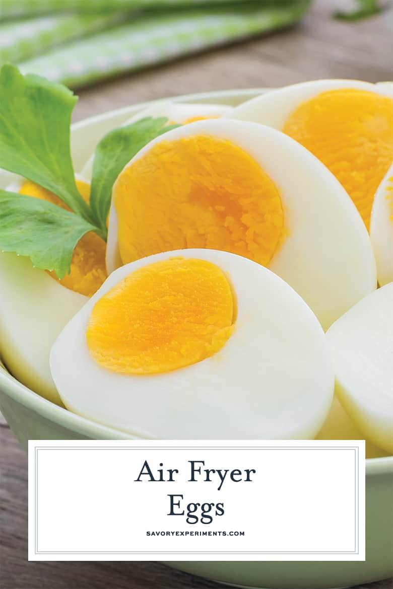 close up of air fryer eggs for pinterest