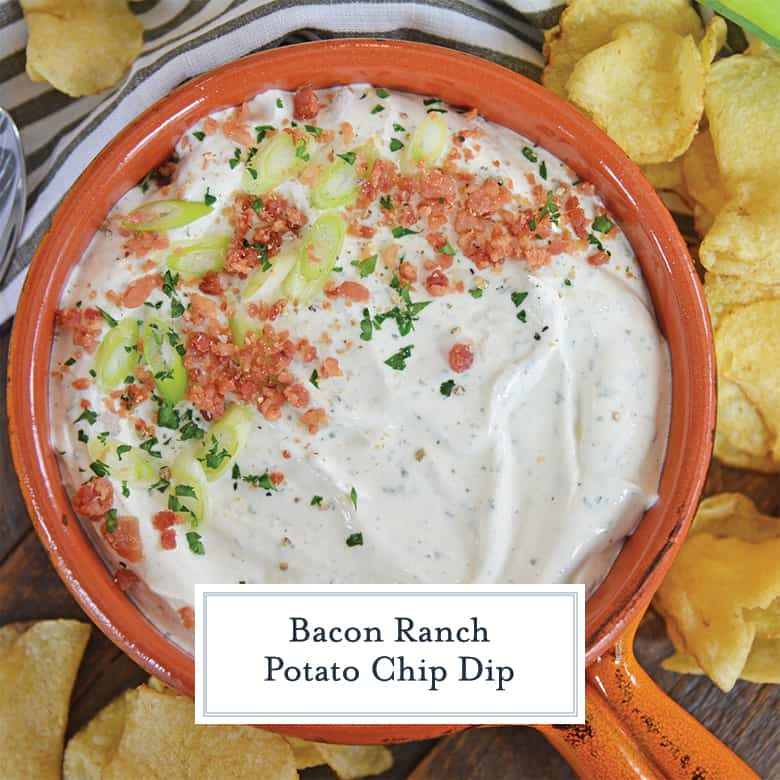 overhead of bacon ranch potato chip dip with kettle cooked potato chips