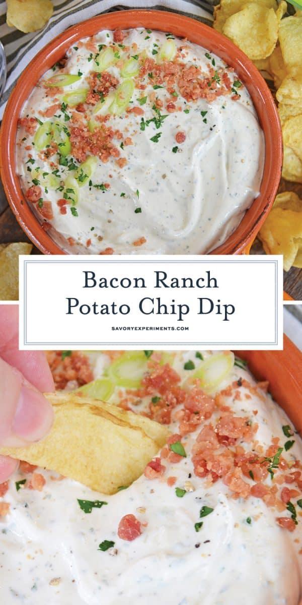 bacon ranch potato chip dip for Pinterest