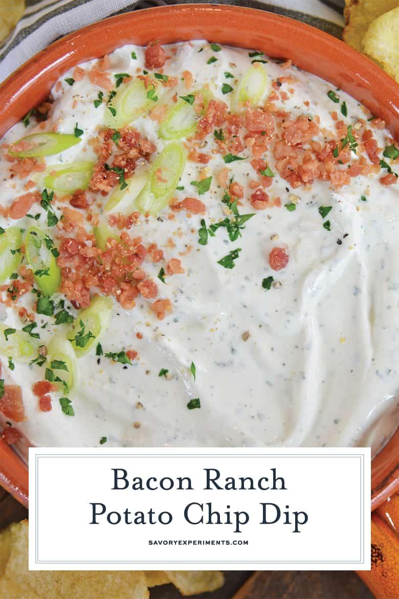 close up of bacon ranch chip dip for pinterest