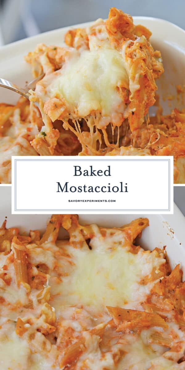 cheesy baked mostaccioli for pinterest