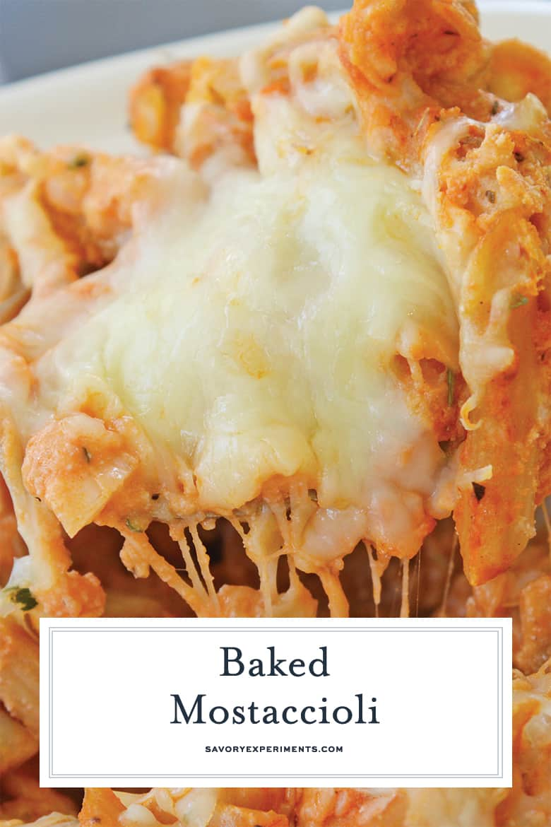 close up of cheesy baked mostaccioli