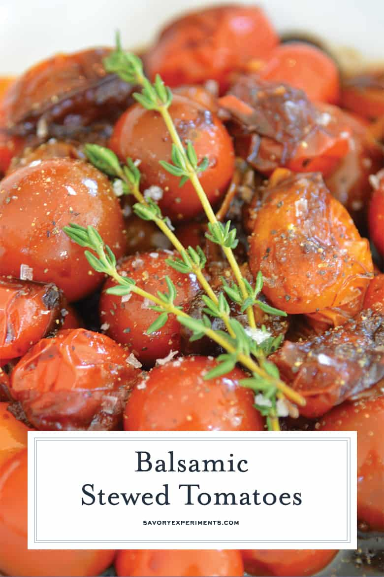 close up of balsamic tomatoes for pinterest