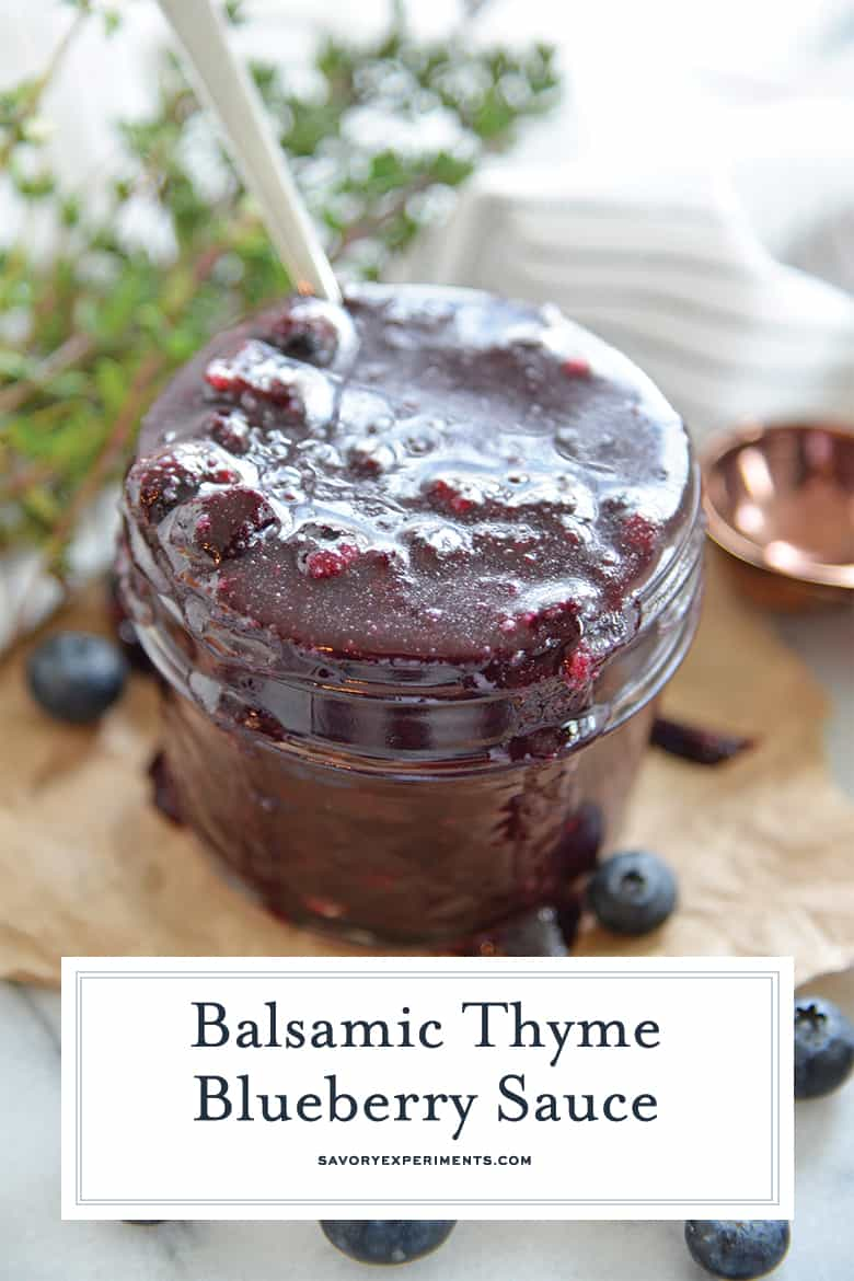 close up of blueberry sauce for Pinterest