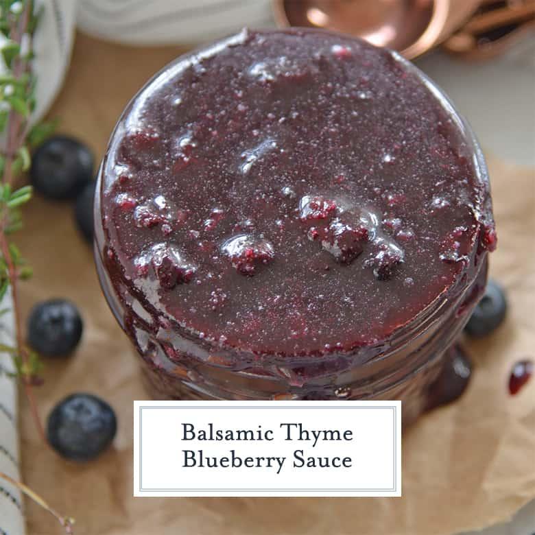 homemade blueberry sauce in a glass jar
