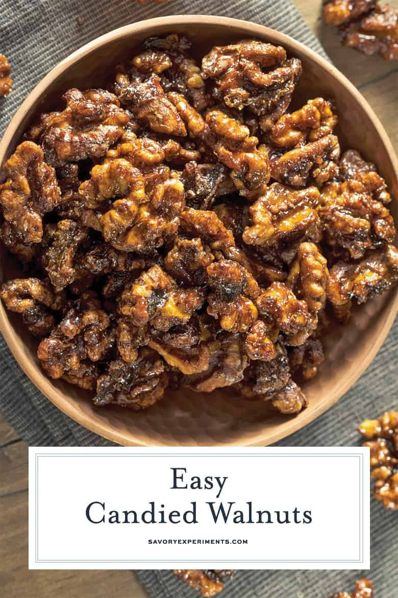 close up of caramelized walnuts for pinterest