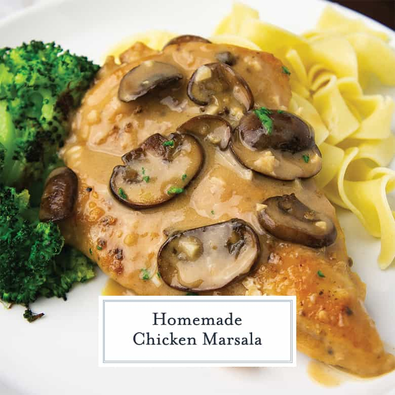 chicken marsala on a white plate with broccoli and egg noodles