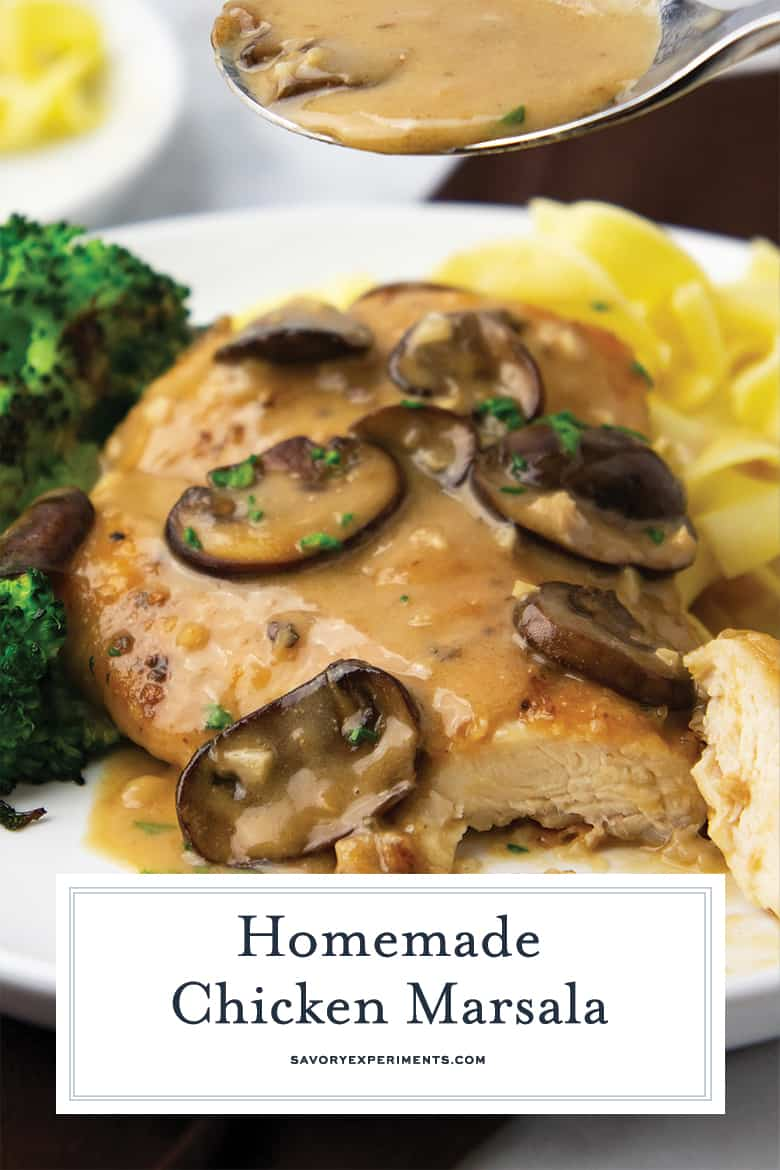 Close up of chicken marsala for pinterest