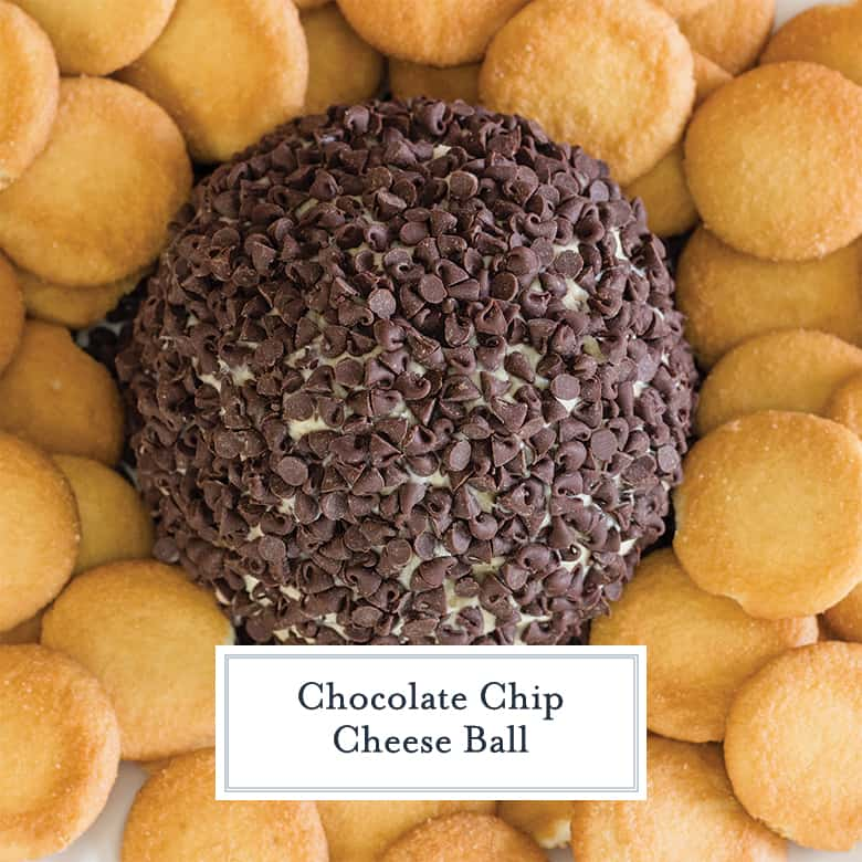 Overhead of chocolate chip cheese ball surrounded by nilla wafers
