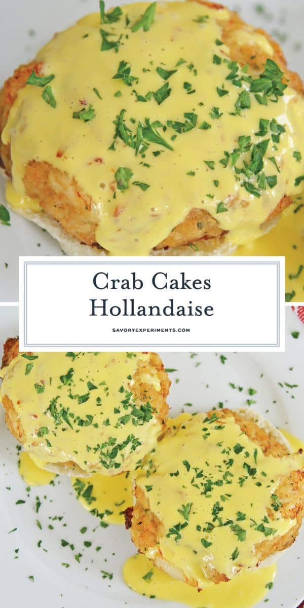 close up of crab cakes hollandaise for pinterest