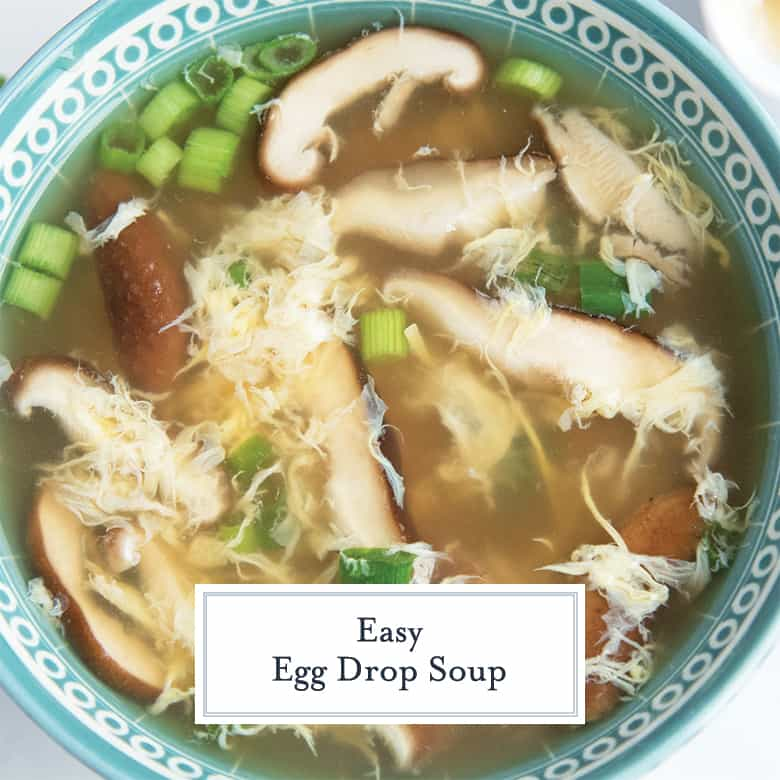 egg drop soup in a teal bowl