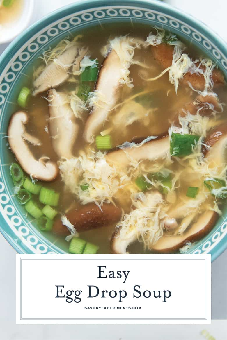 close up of egg drop soup for pinterest