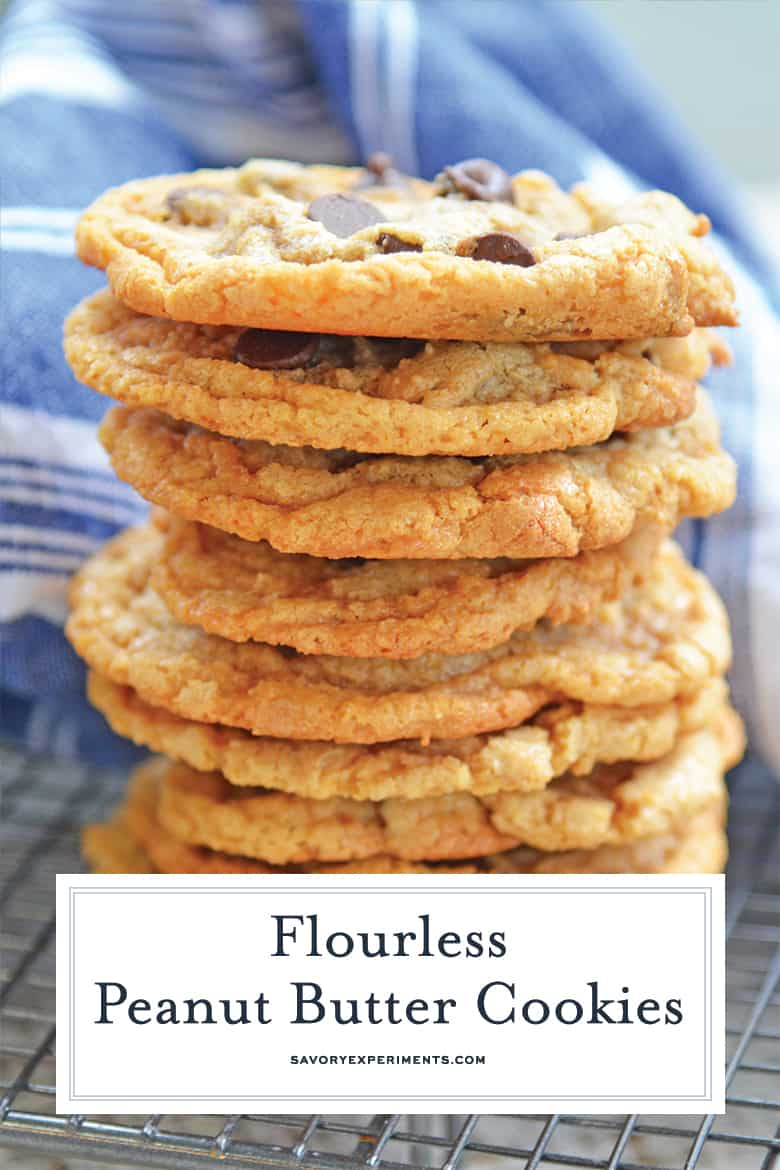 flourless peanut butter cookies with chocolate chips for pinterest