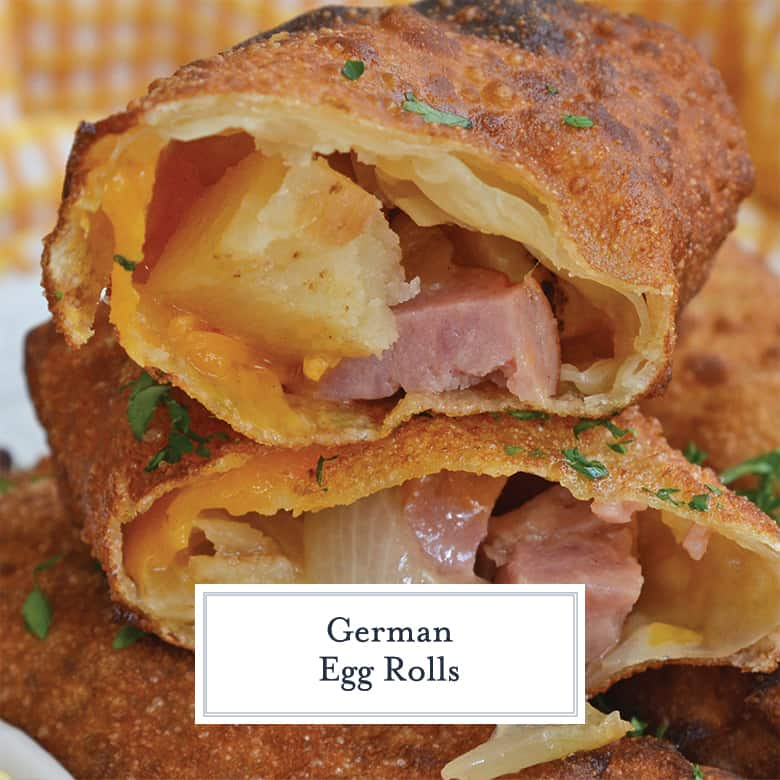 Close up of sausage and sauerkraut egg rolls