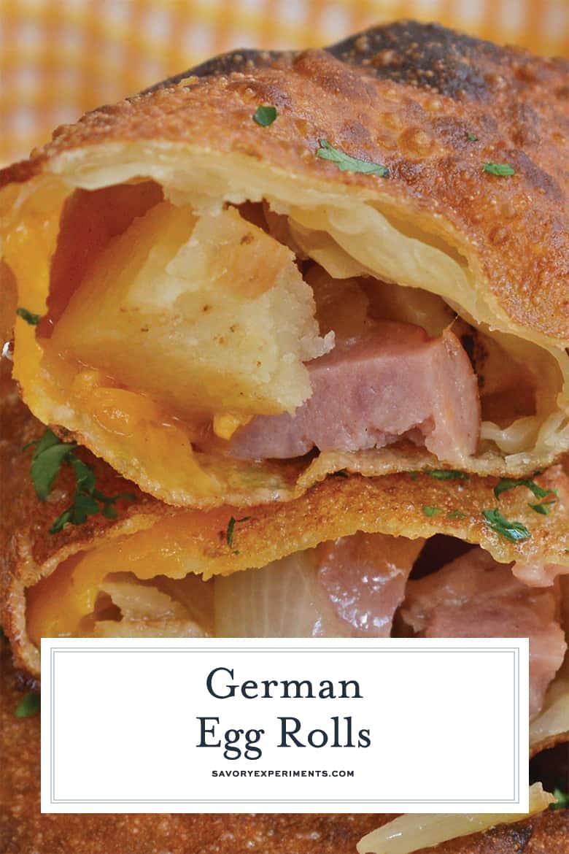 close up german egg rolls for pinterest