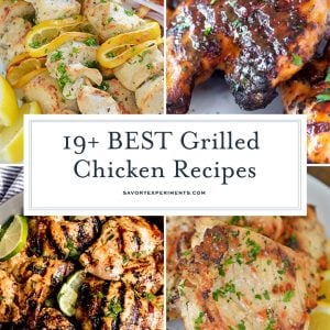 collage of grilled chicken recipes
