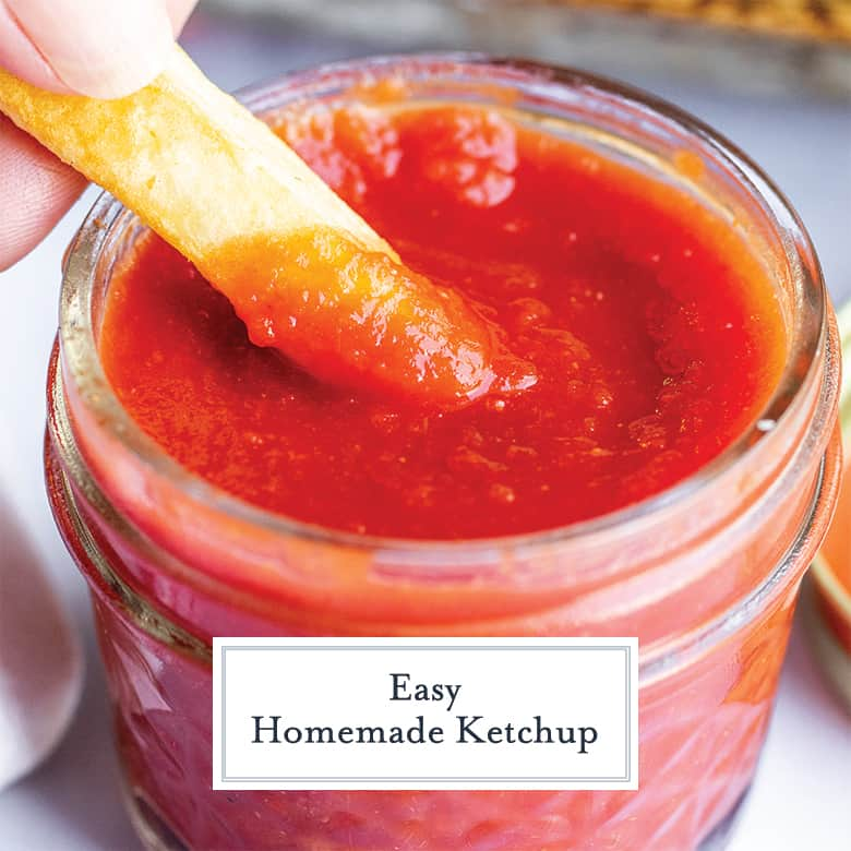 french fry dipping into homemade ketchup