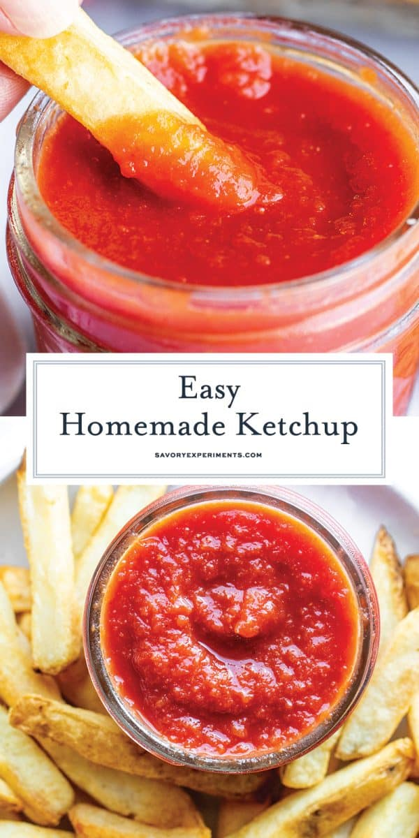 This Homemade Ketchup recipe is EASY to make and has all the classic tomato ketchup flavor. Easily customizable to make it spicy, sweet or even smoky! #homemadeketchup #ketchuprecipe www.savoryexperiments.com