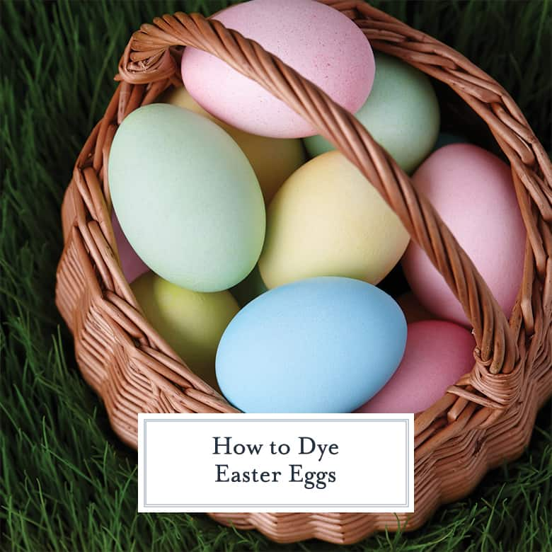 pastel dyed easter eggs in a basket