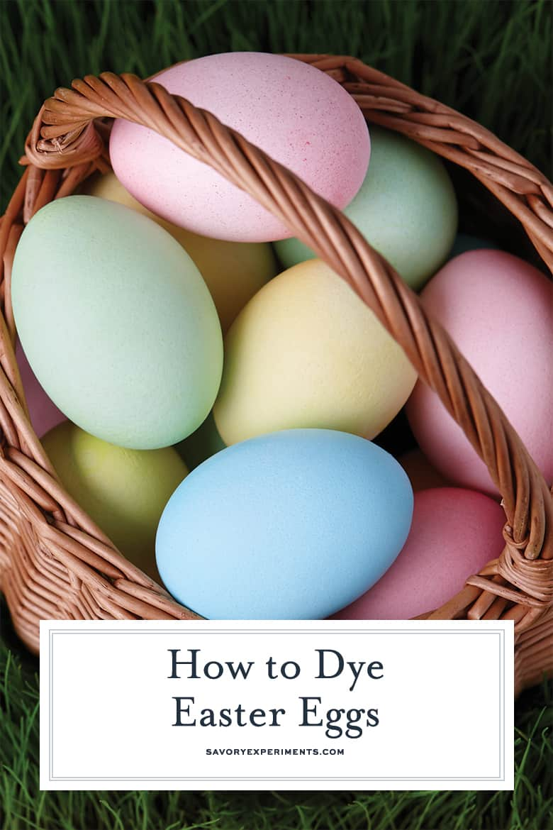 dyed easter eggs in a basket for pinterest
