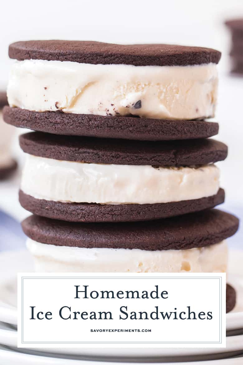 close up of ice cream sandwiches for pinterest