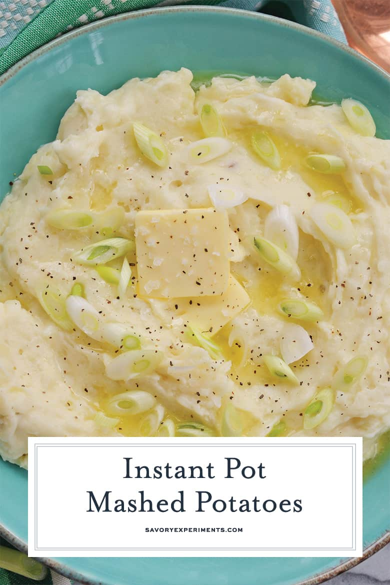 close up of homemade mashed potatoes for pinterest
