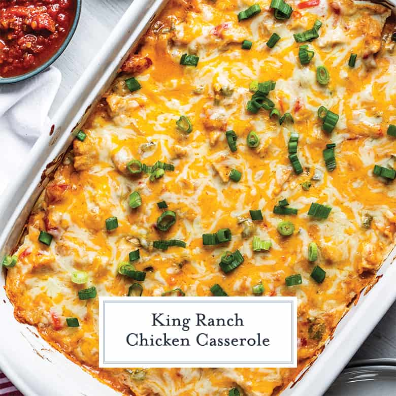 overhead of king ranch chicken casserole with cheese and green onions