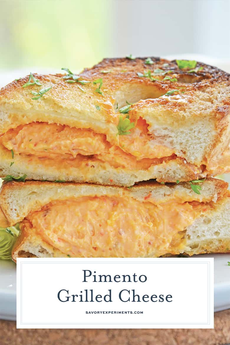 close up of pimento grilled cheese sandwich