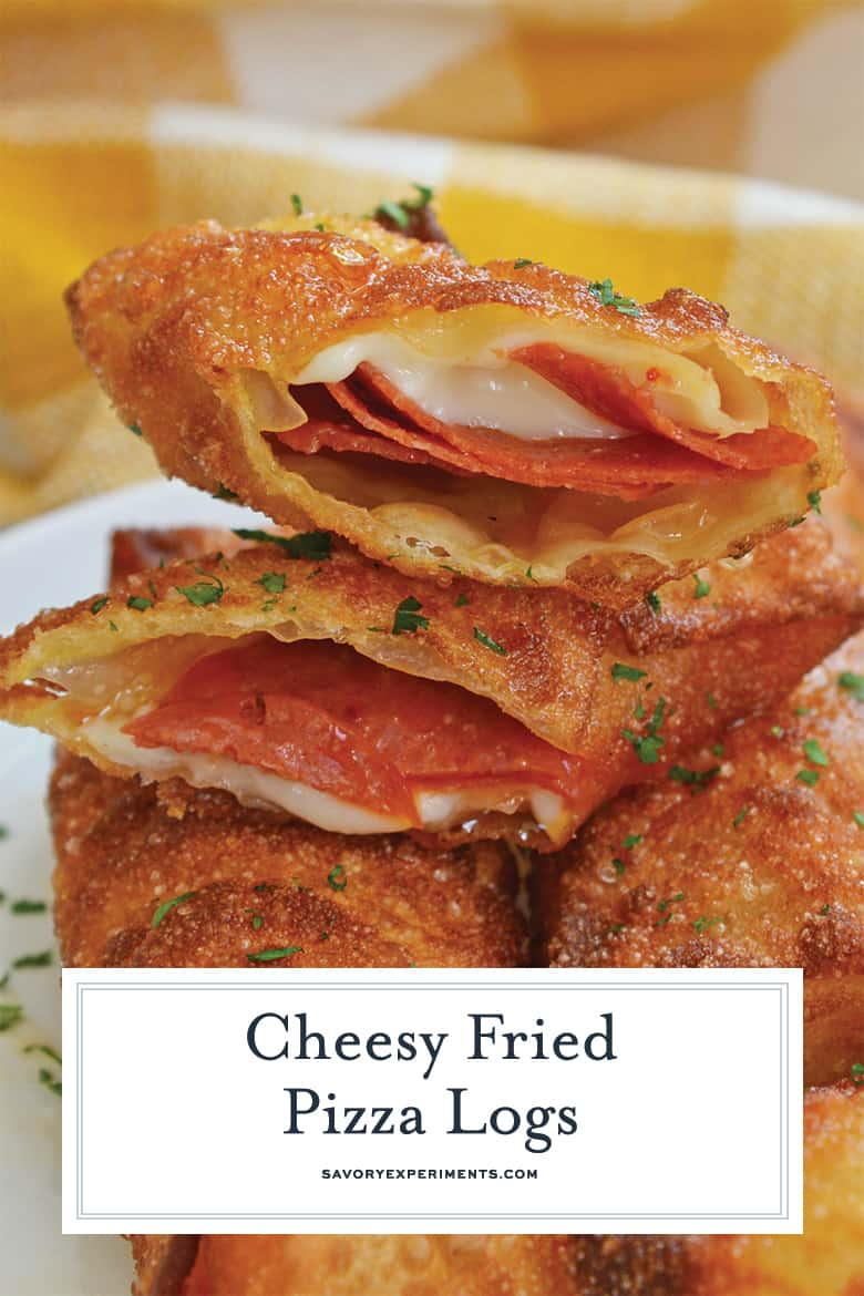 close up of cheesy fried pizza logs