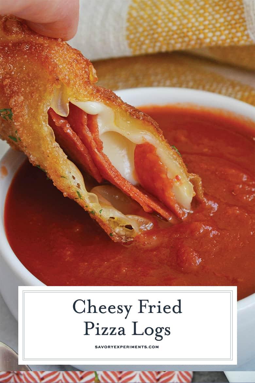 cheesy fried pizza log dipping into marinara sauce