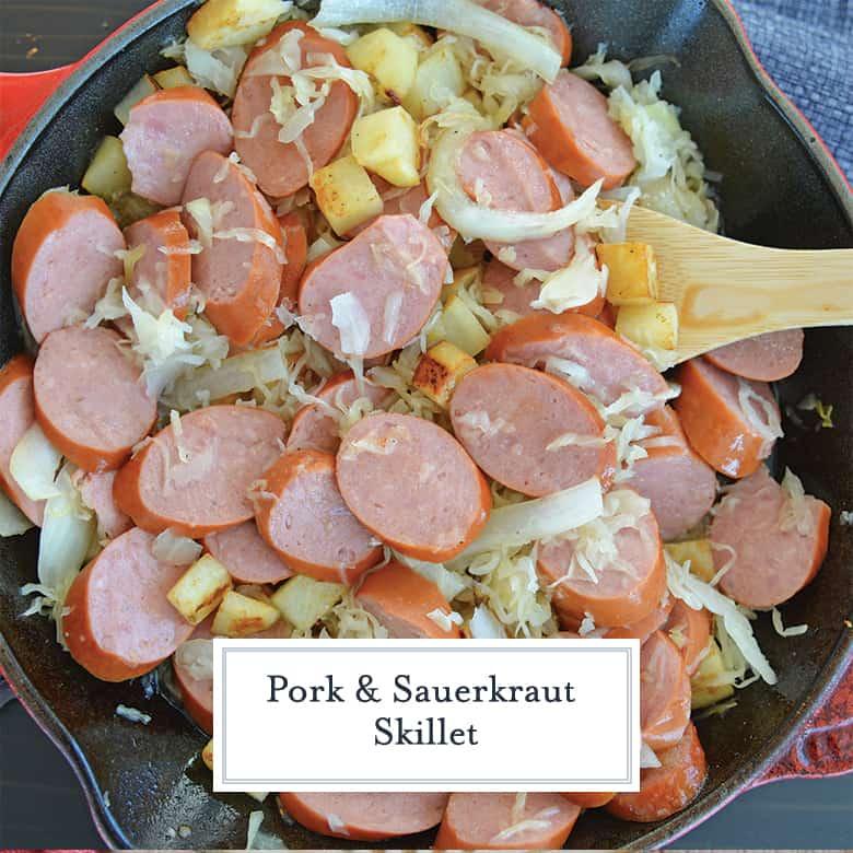 kielbasa and sauerkraut in a cast iron skillet