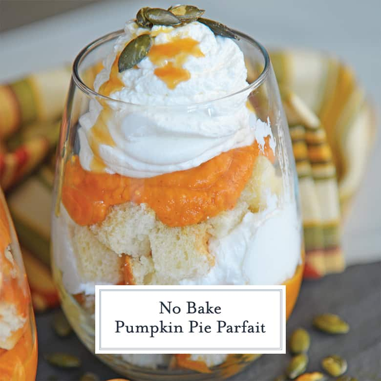 Side view of pumpkin pie parfait with drizzled caramel and pumpkin seeds