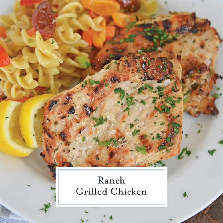 close up of ranch grilled chicken