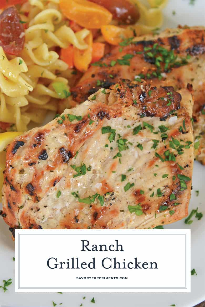 Close up of grilled chicken for Pinterest