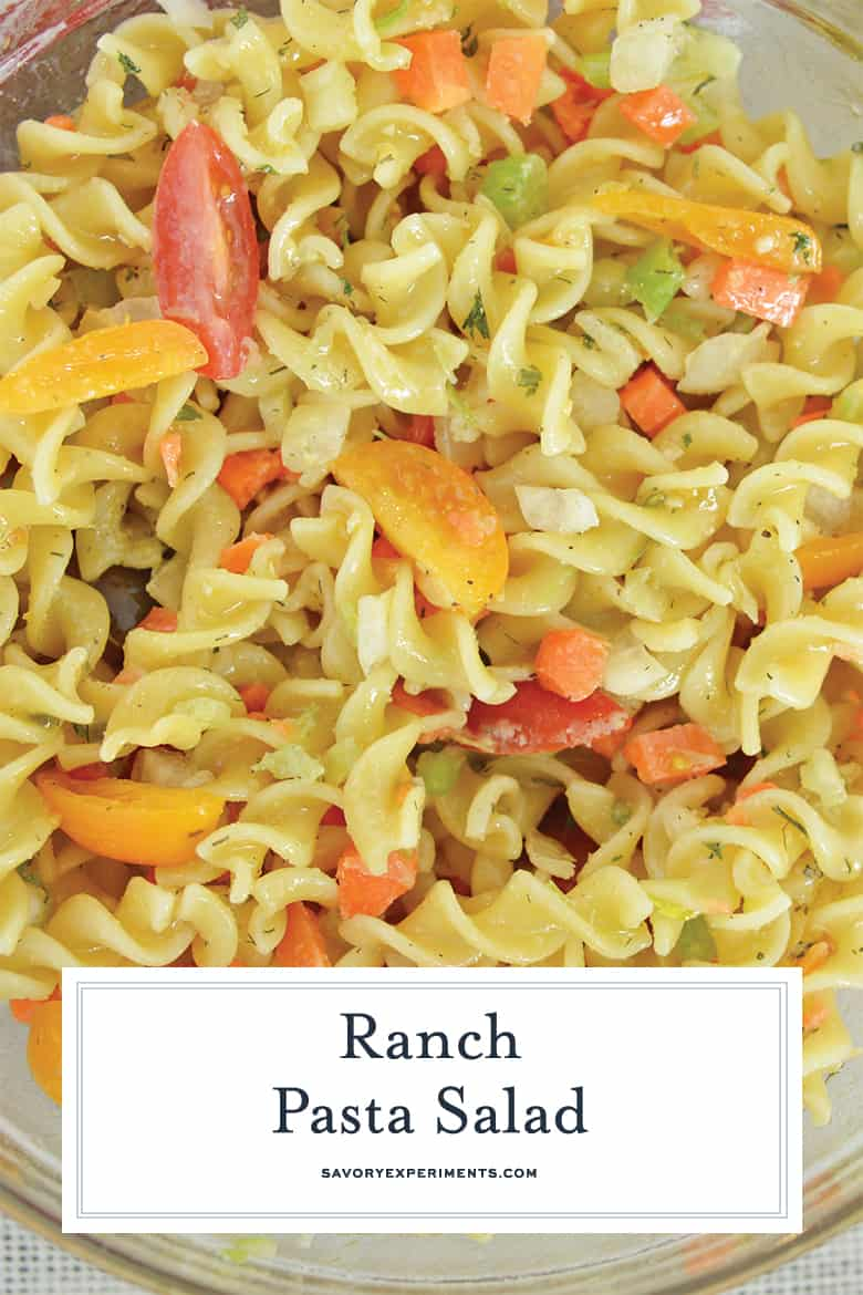 close up of ranch pasta salad