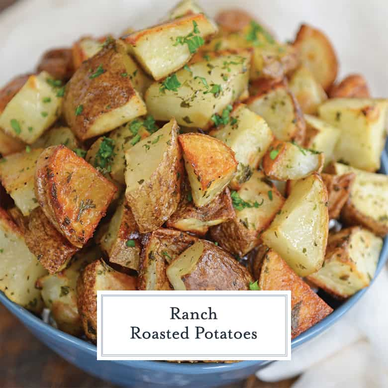 Ranch Potatoes in a blue bowl
