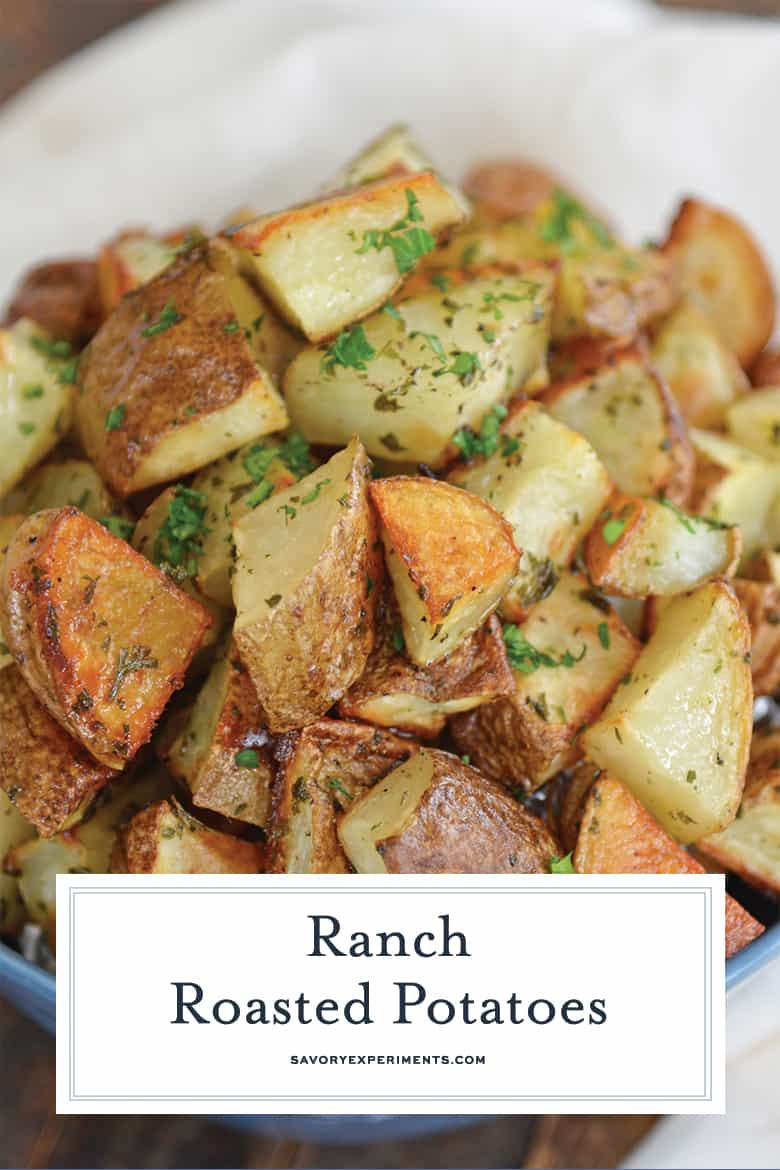 close up of ranch potatoes for pinterest
