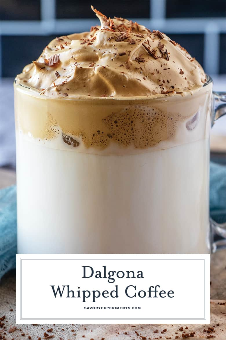 close up of whipped coffee for pinterest